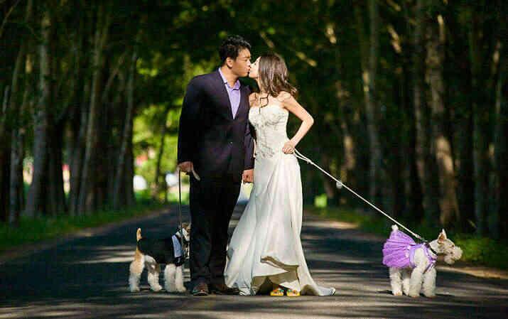 和心愛的寵物狗一起拍唯美婚紗照